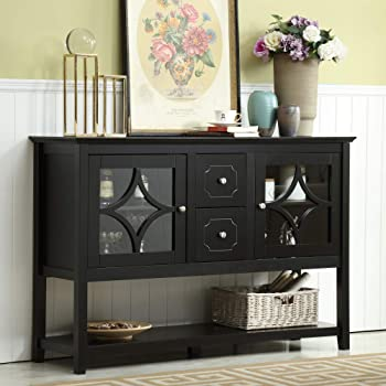 """Mixcept 52"""" Stylish Practical Sideboard Buffet Cabinet Wood Console Table Storage Cabinet with 2 Doors and 2 Drawers, Black"""