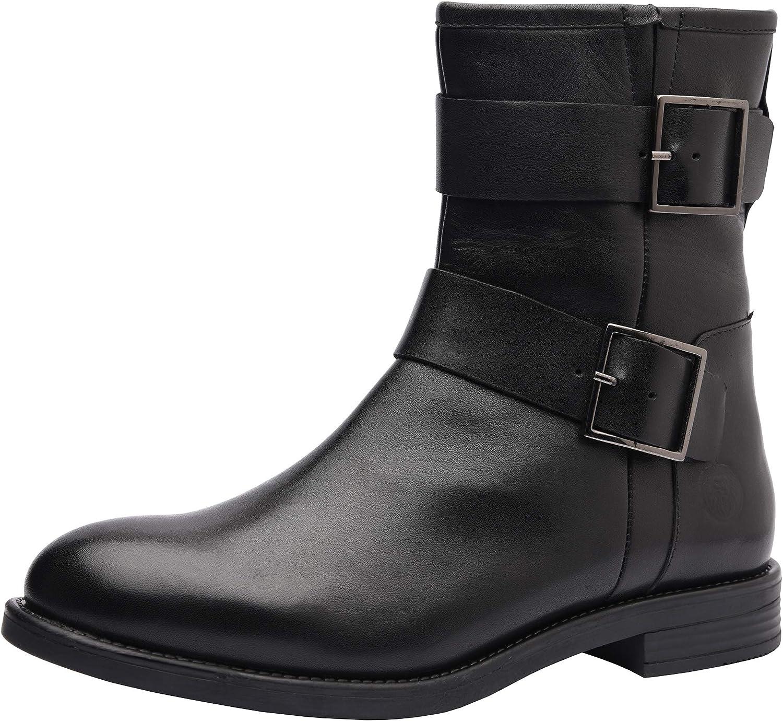 ALLONSI   Womens Genuine Leather Booties   Block Heel   Womens Chelsea Boots   Women's Ankle Boots   Mid-Heel   Handmade TPR Sole   Zip Closure   Everyday Comfort   Handcrafted Detailing
