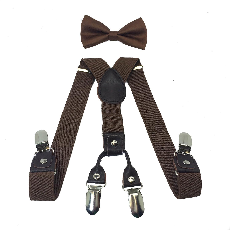 Boys Girls Kids Child Children 4 Clips Special Design Elastic Suspenders & Bow Tie (Brown)