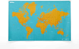 Crumpled World Innovative Wall Map by City or Country Names Super Lightweight~Water Resistant~Indestructible~Washable Map w/ 1 Marker & Magnetic Hanging Dots Included – 87x58 cm (by City)