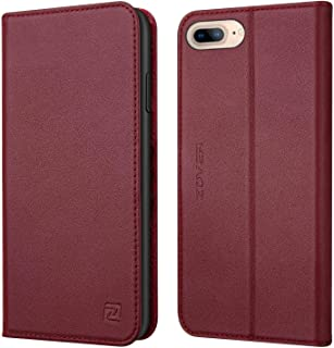 iPhone 8 Plus 7 Plus 6 Plus case ZOVER Genuine Leather Wallet Case with RFID Blocking Kickstand Feature Card Bison Fone Slots ID Holders and Magnetic Clasps Gift Box Wine Red (Undetachable Version)