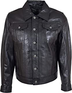 Mens Leather Trucker Jacket Slim Fit Authentic 501 Style Terry Black