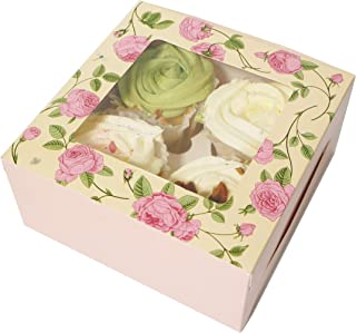 Cupcake Boxes With Insert And Clear Window, Cupcake Carriers For 4 Pack Cupcake,Pink Rose Cupcake Containers,For Candy Don...