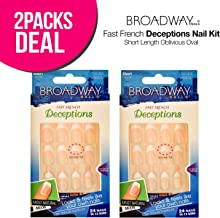 2-Pack! Broadway Fast French Deceptions Nail Kit Short Length Oblivious Oval