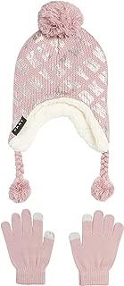 Girls Winter Hat and Glove Set - Sherpa Fur Lined Earflap Pom Pom Beanie