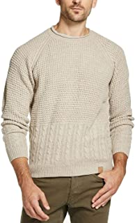 Mens Sweater Small Crewneck Textured Knit Beige S