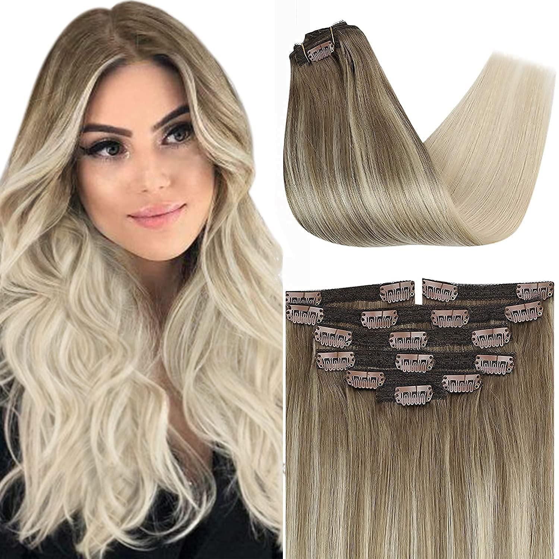 VeSunny 24 Inch Human Award service Hair Clip Platinum in Ombre Extensions Blo