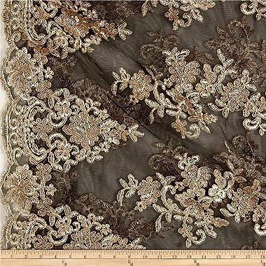 Unique Quality Fabrics Starlight Sequin & Mesh Lace Ashley, Gold/Black