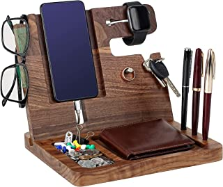 Gifts for Men - Ebony Wood Phone Docking Station - Nightstand with Key Holder, Wallet Stand and Watch Organizer - Perfect ...