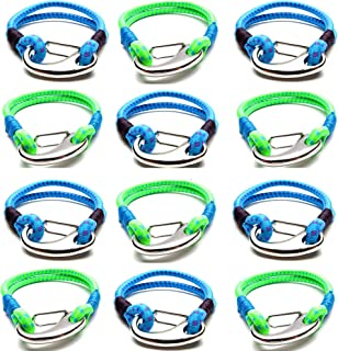 Cub Scout Party Favors for Boys Girls Kids Teens - 12 PCs Multi Bungee Cord Tactical Survival Bracelets - Camping Accessories, Outdoors, Hiking Gear, Scouting Stuff - Cool Gadgets for Scouts