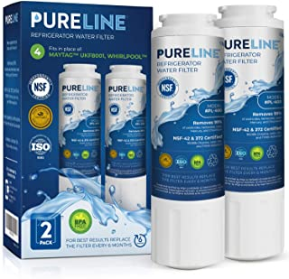 PURELINE NSF & WQA Certified UKF8001 Refrigerator Water Filter, Replacement for Maytag UKF8001P, Whirlpool EDR4RXD1, EveryDrop Filter 4, PUR 4396395 Puriclean II, UKF8001AXX-200, 469006 (Pack of 2)