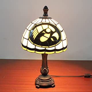 9-inch NCAA Iowa Hawkeyes Stained Glass Table Lamp