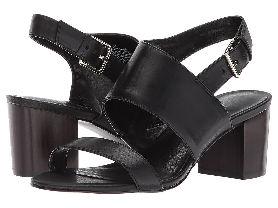 Nine West Forli Block Heel Sandal (Black Leather) Women