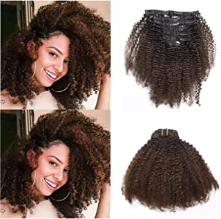 Anrosa Kinkys Curly Clip in Hair Extensions Human Hair 3C 4A Afro Kinky Curly Clip ins Natural Hair Afro Kinky Clip ins for Black Women Dark Brown #1B/4 Thick 14 Inch 120g