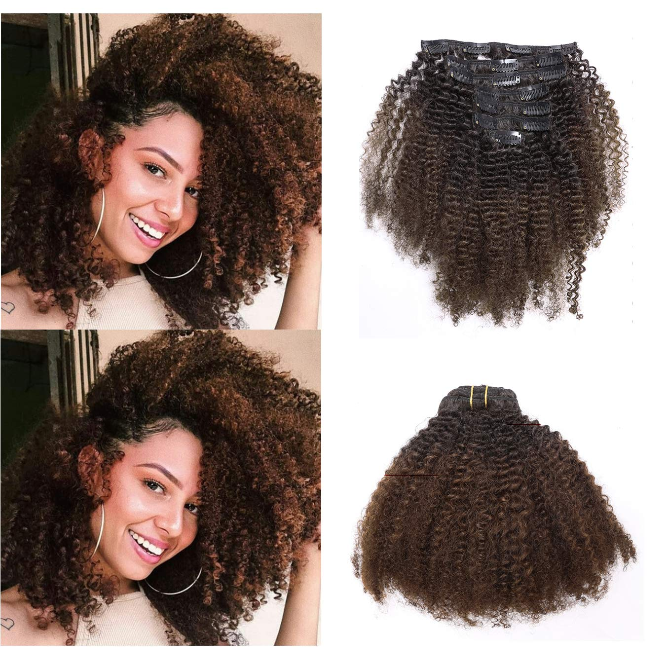 Anrosa Kinkys Curly Clip shipfree in Hair New product!! Human 3C Afr Extensions 4A