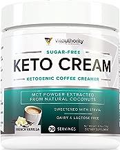 Keto Cream: Sugar Free Perfect Keto Coffee Creamer Powder with Vegan MCT Oil Powder, Stevia Sweetened Keto Creamer for Coffee | Low Calorie, Non Dairy Ketogenic Coffee Booster, French Vanilla, 30 SRV