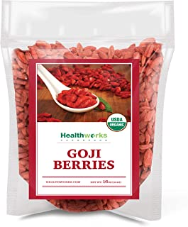 Healthworks Raw Goji Berries (16 Ounces / 1 Pound) | Certified Organic & Sun-Dried | Keto, Vegan & Non-GMO | Baking, Teas & Smoothies | Antioxidant Superfood