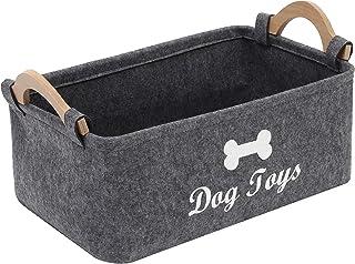 Xbopetda Fiber Soft Felt Dog Storage Basket Bin Organizer - with Wooden Handle- Pet Supplies Storage Basket/Bin Kids Toy C...