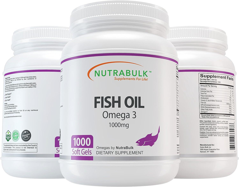 NutraBulk Omega-3 Overseas parallel import regular item Fish Store Oil 1000 Soft Gels Count
