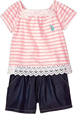 2 For Look Stripe Romper (Big Kids)
