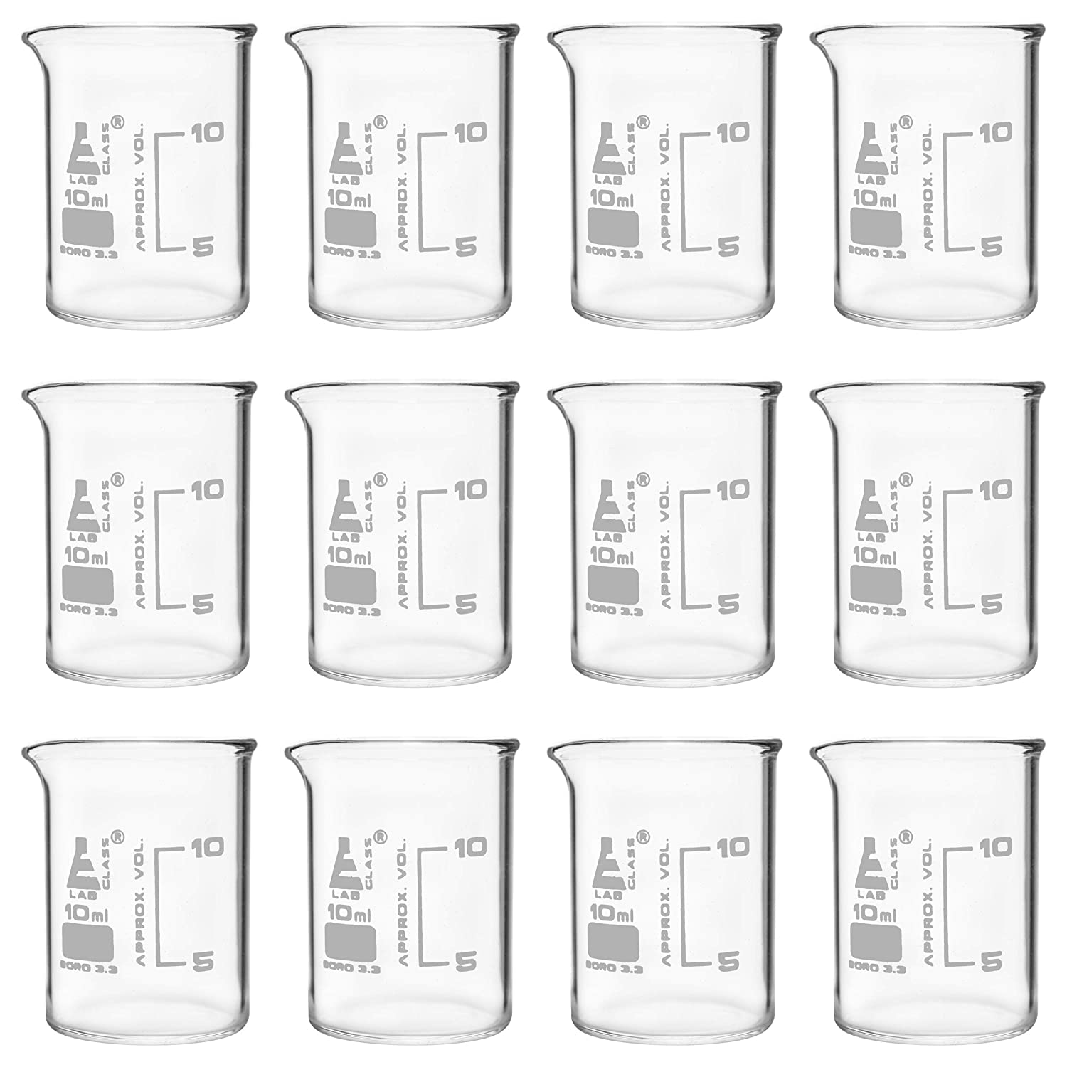 12PK Beakers 10ml - ASTM Low 2021new shipping free free with Graduati Spout Form White