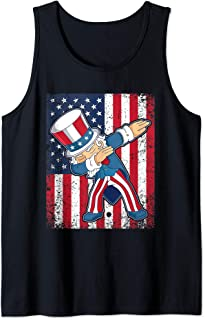 Dab For Freedom Dabbing Uncle Sam Patriotic USA 4th of July  Tank Top
