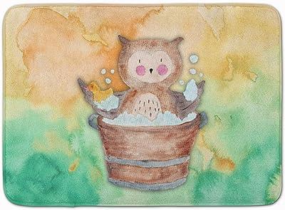 "Caroline's Treasures Owl Bathing Watercolor Floor Mat, BB7342RUG, Multicolor, 19"" H x 27"" W"