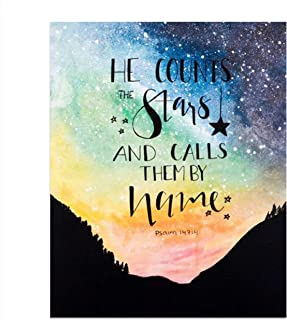 He Counts the Stars and Calls Them All by Name 3D Wood Laser Cut Home Decor Nursery Sign