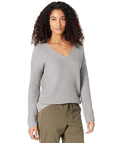 tentree Highline Cotton Light V-Neck Sweater (Grey Heather) Women