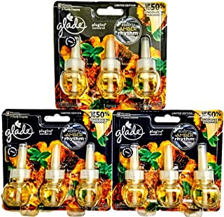 9 GLADE PLUGINS OIL REFILLS SULTRY AMBER RHYTHM LIMITED EDITION SCENT 3 X 3