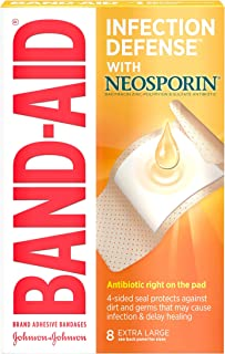 Band-Aid Brand Adhesive Bandages Infection Defense with Neosporin Antibiotic Ointment, for Wound Care and First Aid, Extra...