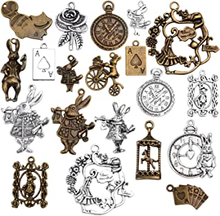 20 Pieces Mixed Alice in Wonderland Charms Alloy Rabbit Watch Teapot Pendants for Jewelry Making, Bronze and Sliver