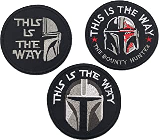 This is The Way Mandalorian Full Helmet Inspired Art Patch, Fastener Hook and Loop Backing Tactical Military Embroidered F...