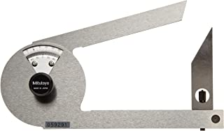 Mitutoyo 187-201 Stainless Steel Bevel Protractor, 1 Degree Main Scale, 5 Minute Vernier Scale Graduation