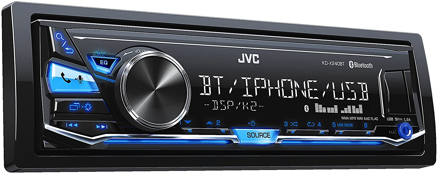 JVC KD-X240BT Single DIN in-Dash Digital Media Car Stereo with Android/iPhone Compatibility (Renewed)
