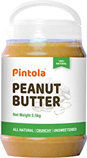 Pintola All Natural Peanut Butter (Crunchy) (2.5kg) | Unsweetened | 30g Protein | Non GMO | Gluten Free | Vegan | Choleste...