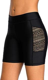 ALove High Waisted Long Swim Shorts for Women UPF 50+ Swim Leggings Black Swim Capri Pants