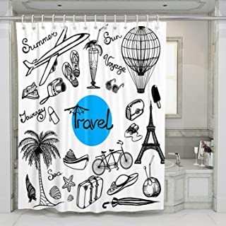 SCMISS Shower Curtain with Hooks Black Travel Doodle Bicycle Aircraft Eiffel Tower Hot Air Balloon Palm Tree Fruit Juice Waterproof Resistant Bathroom Fabric Extra Long Size 72 x 84 inch