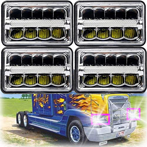 """high quality 4x6"""" LED Headlight Sealed sale Beam Hi/Lo DRL Headlamps lowest For 1988-2007 Freightliner FLD120 Super Bright Rectangular Lights Newest Design, Pack of 4 sale"""