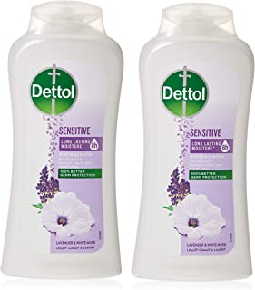 Dettol Sensitive Anti-bacterial Body Wash 250ml Twin Pack - Lavender & White Musk
