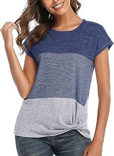 Tuopuda Maglietta Manica Corta Donna, T-Shirt a Righe Estiva, Camicia Casual Shirt Divertenti Sportivi Cotone Stretch Eleg...