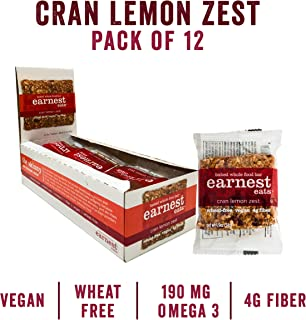 Earnest Eats Chewy Breakfast Bars with Whole Grain Oats and Almond Butter, Superfood, Vegan, 190mg Omega 3, Cran Lemon Zest, 1.9oz Bars, Pack of 12