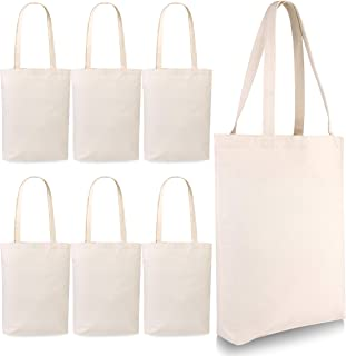Washable Canvas Tote Bag - 6 Pack Reusable Heavy Duty and Eco Friendly Standard Size Tote Bags Self Fabric Handles Easy Carry - Great For Crafting Decorating Designing Shopping Groceries and Much More