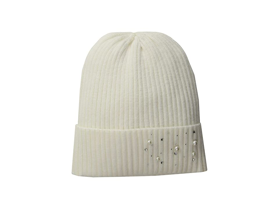 Collection XIIX Pearls and Stones Sleek Beanie (White) Beanies