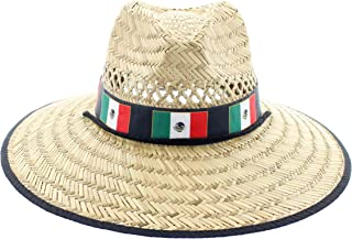 JFH Group Hecho en Mexico Flag Band Wide Brim Beach Sun Straw Hat w/Chin Cord (S06 M Black)