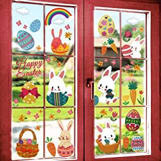 Zonon 180 Pieces 16 Sheet Easter Decorations Bunny Window Clings Decor Rabbit Window Decals Spring Window Stickers Easter Wall Door Floor Decor for Kids Party Supplies