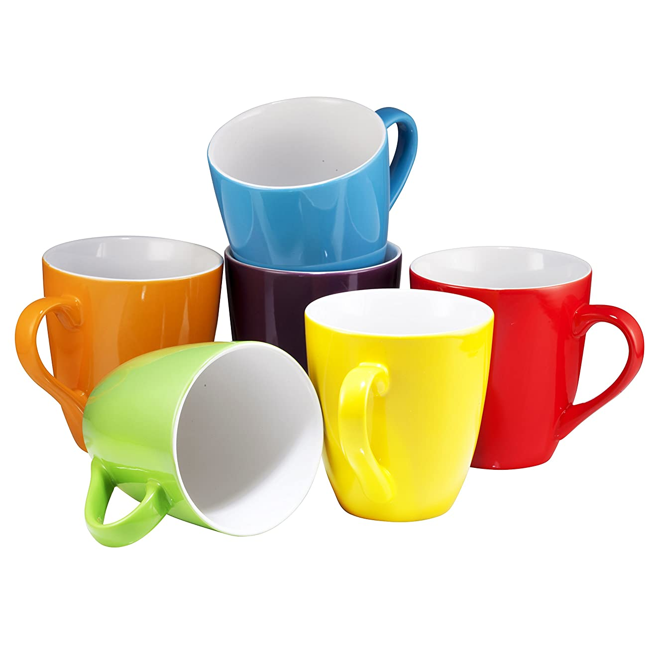 Coffee Mug Set Set of 6 Large-sized 16 Ounce Ceramic Coffee Mugs Restaurant Coffee Mugs By Bruntmor (Multi-Color)