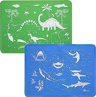 Brinware Reusable Slip Resistant Toddler Silicone Placemat for Kids - Dinosaur & Shark Green/Blue (2 Pack)
