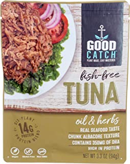 GOOD CATCH Fish Free Tuna, Oil & Herbs, 3.3 oz. Pouch (Pack of 12) | Gluten Free Vegan Protein | Plant Based Protein with ...
