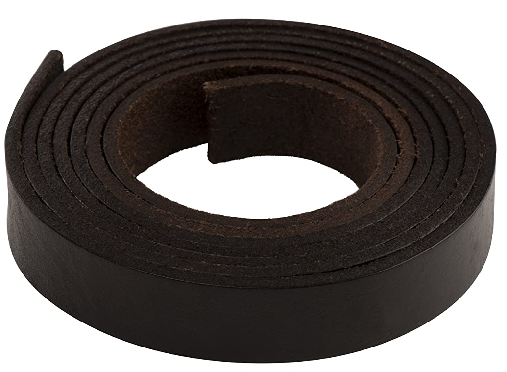 Leather Strap - Cowhide Leather Strip for Leather Belt Making, Jewelry Accessories, Bracelets, DIY Projects, Dark Brown, 3/4 Inch Wide, 1/8 Inch Thick, 72 Inches Long